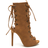 CADY Nubuck Lace Up Bootie in Tan at FLYJANE | Kylie Jenner Lace Up Bootie | Shoe Republic LA CAPRICE Bootie in Tan | Ankle Length Lace Up Open Toe Bootie