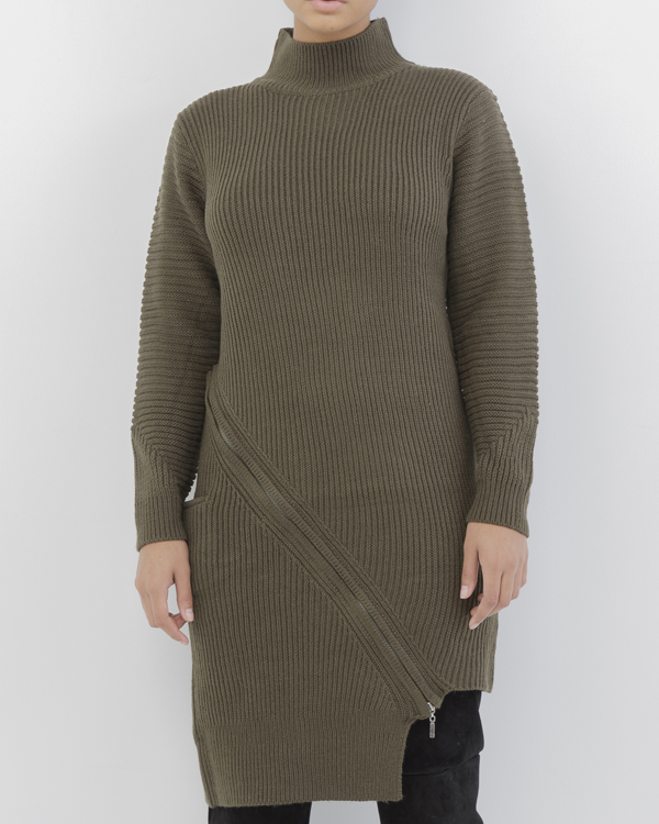 ZIP SERVICE ZIPPERED SWEATER DRESS - OLIVE