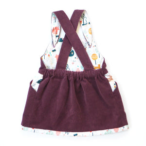 Berry Corduroy Pinafore Dress (Pre-order)