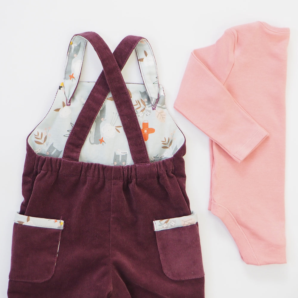 Berry Corduroy Baby Dungarees - The Wild and The Tame