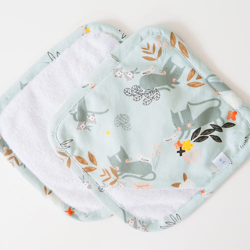 Blue Cat Print Baby Wash Mitt Washcloths - Luxury Baby Boy Gift Sets UK - Washable Face Wipes