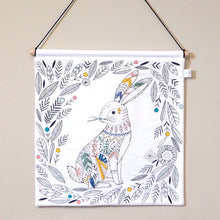 Woodland Nursery Decor - Embroidered Hare Nursery Wall Hanging
