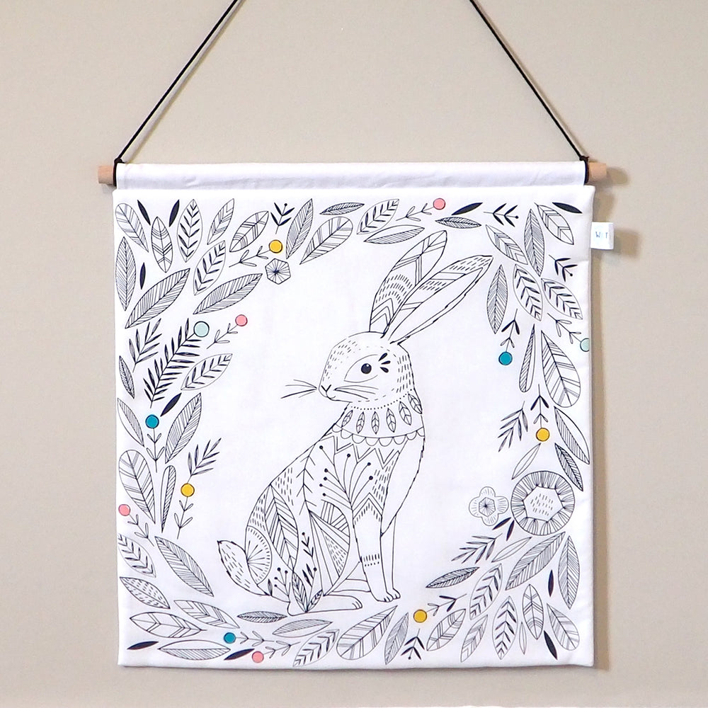 Monochrome Woodland Nursery Decor - Hare Nursery Wall Hanging