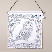 Monochrome Woodland Nursery Decor - Owl Nursery Wall Hanging