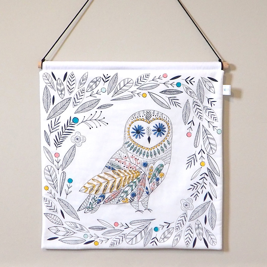 Woodland Nursery Decor - Embroidered Owl Nursery Wall Hanging