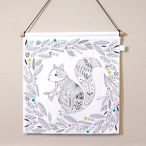 Monochrome Woodland Nursery Decor - Squirrel Nursery Wall Hanging