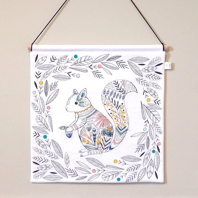 Woodland Nursery Decor - Embroidered Squirrel Nursery Wall Hanging