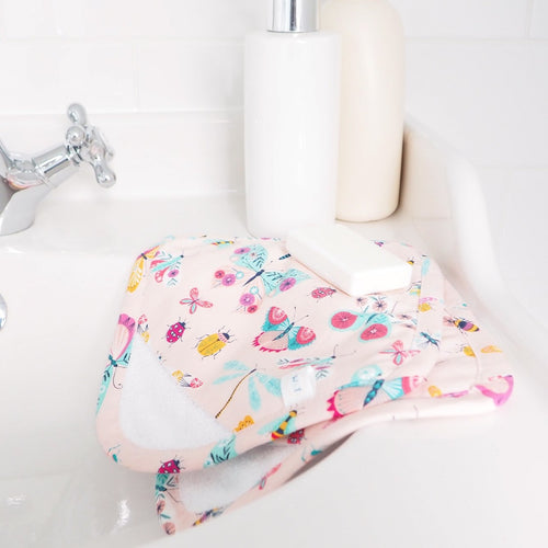 Pink Butterfly Print Baby Wash Mitt Washcloths - Luxury Baby Girl Gift Sets UK - Washable Face Wipes