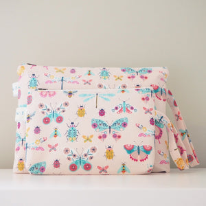 Pink Butterfly Print Nappy Pouch - nappy travel pouch and cosmetic pouch