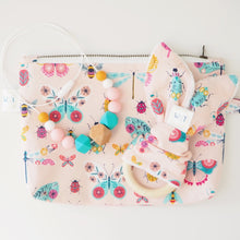 Pink Butterfly Print Cosmetic Pouch, Teething Ring and Teething Necklace