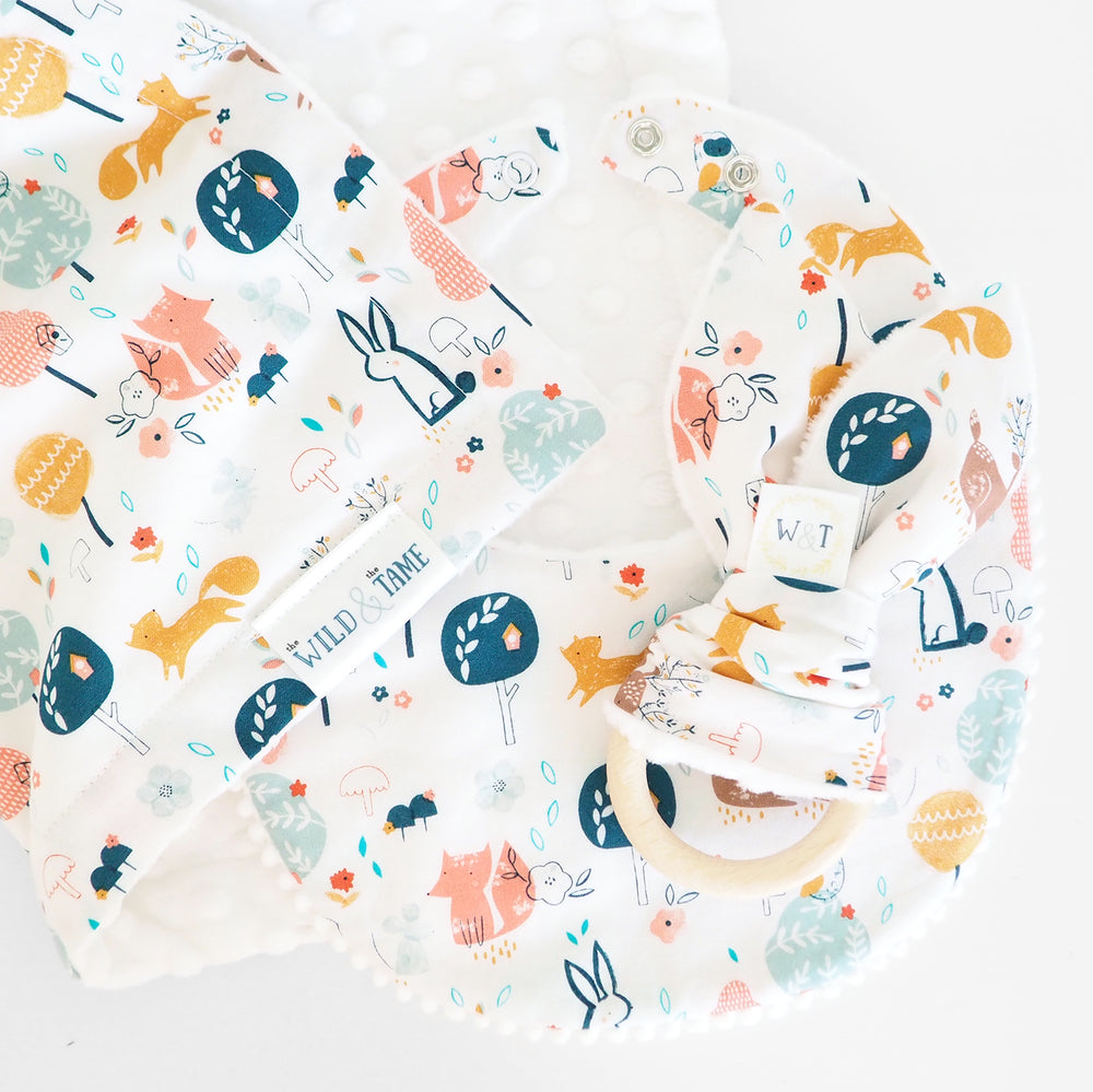 Woodland Print Baby Teething Ring, Bib and Baby Blanket - The Wild and The Tame