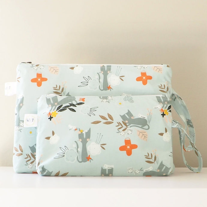 Blue Kitten Print Nappy Pouch - nappy travel pouch and cosmetic pouch