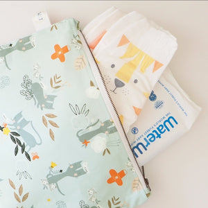 Blue Kitten Print Nappy Pouch - travel pouch for nappies and baby wipes