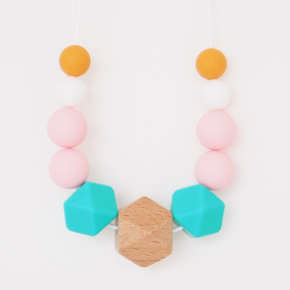 The Wild and The Tame_Colourpop Pink, Blue and Orange Wood and Silicone Teething Necklace_Gift for new mum
