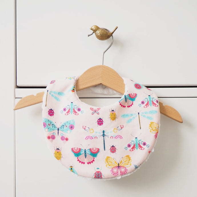 Pink Butterfly Print Baby Dribble Bib_Gift for a Baby Girl_The Wild and The Tame