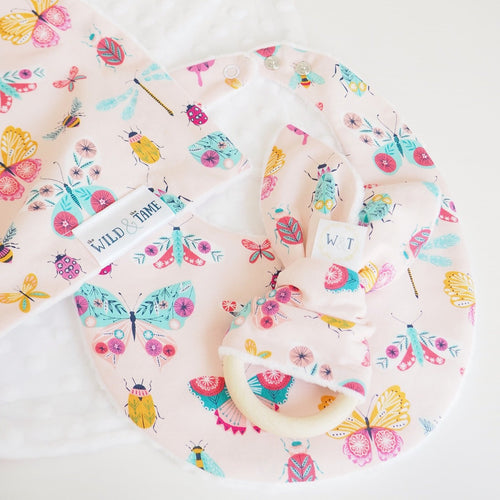 Handmade Pink Butterfly Print Dribble Bib, Teething Ring and Baby Blanket - Baby Shower Gift - The Wild and The Tame