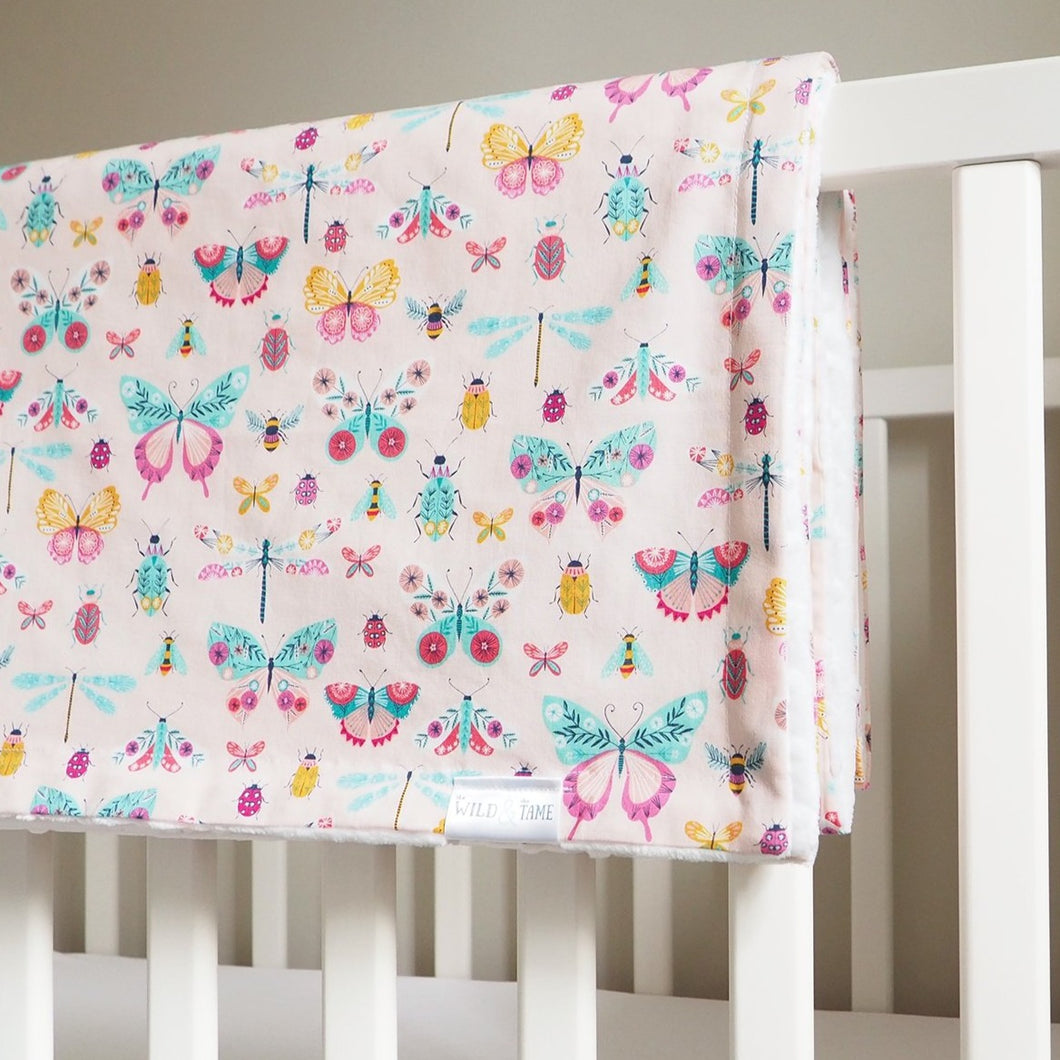 Handmade Pink Butterfly Print Toddler Cot Blanket and Newborn Moses Basket Blanket - Baby Girl Gift - The Wild and The Tame