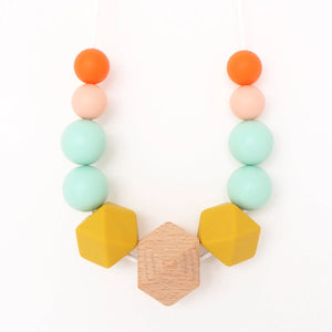 The Wild and The Tame_Colourpop Pink, Orange and Turquoise Wood and Silicone Teething Necklace_Gift for new mum