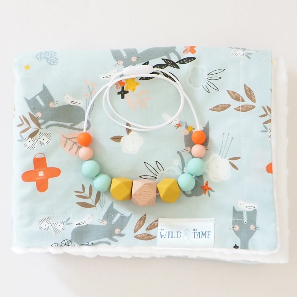 The Wild and The Tame_Colourpop Pink, Orange and Turquoise Wood and Silicone Teething Necklace_Kitten Baby Cot Blanket_Mum and baby gift set