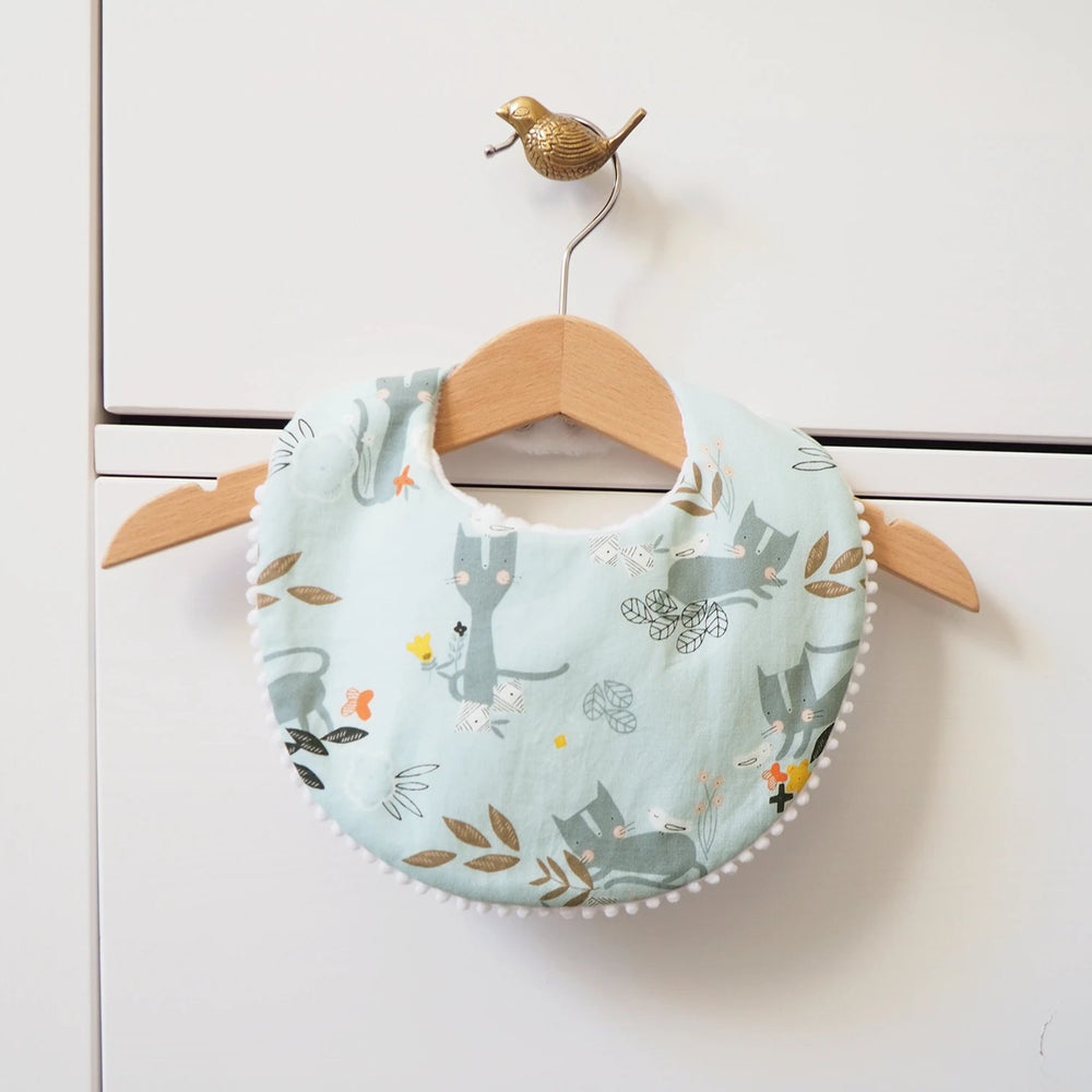 The Wild and The Tame - Handmade Blue Kitten Print Dribble Bib for Teething Babies - Baby Shower Gift