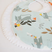 The Wild and The Tame - Handmade Blue Kitten Print Dribble Bib for Teething Babies - Newborn Baby Gift