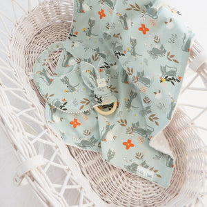 The Wild and The Tame - Handmade Blue Kitten Print Moses Basket Blanket, Bib and Teething Ring - Gender Neutral Baby Shower Gift