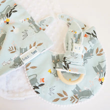 The Wild and The Tame - Handmade Blue Kitten Print Baby Teething Ring - Gender Neutral Teething Baby Gift