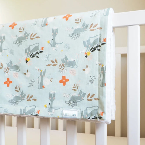 The Wild and The Tame - Handmade Blue Kitten Print Toddler Cot Blanket And Newborn Moses Basket Blanket - Gender Neutral Baby Gift