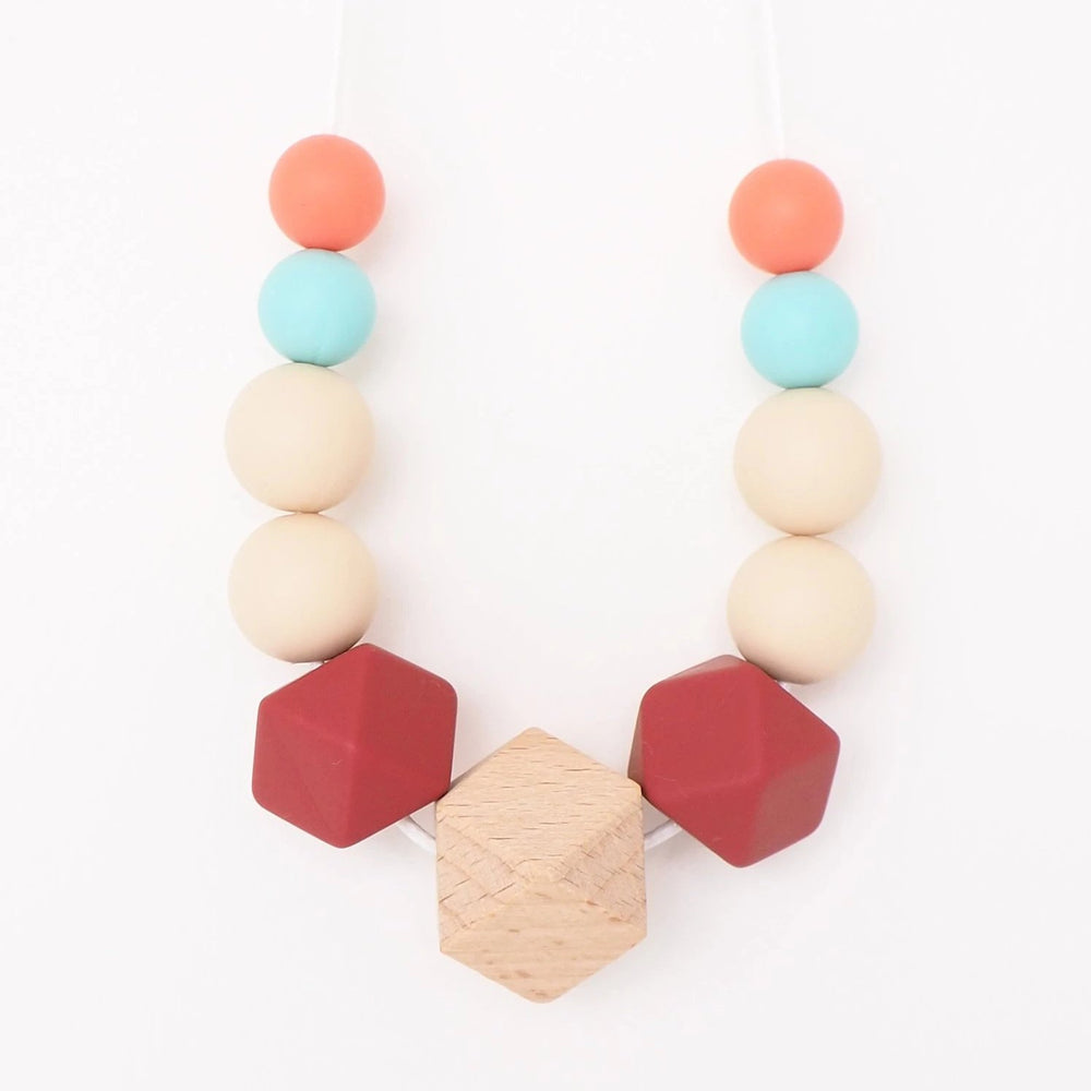The Wild and The Tame_Neutral Turquoise, Pink and Red Wood and Silicone Teething Necklace_Gift for new mum