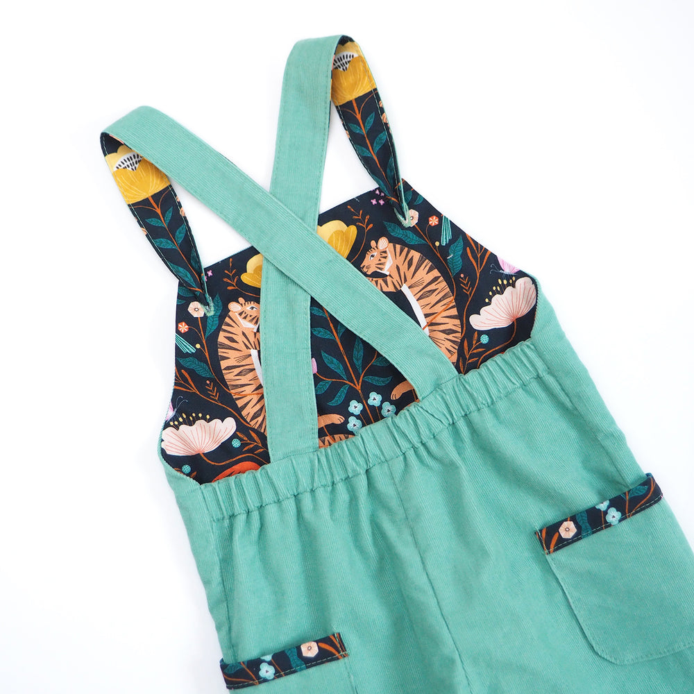 Turquoise Corduroy Dungarees (Pre-order)