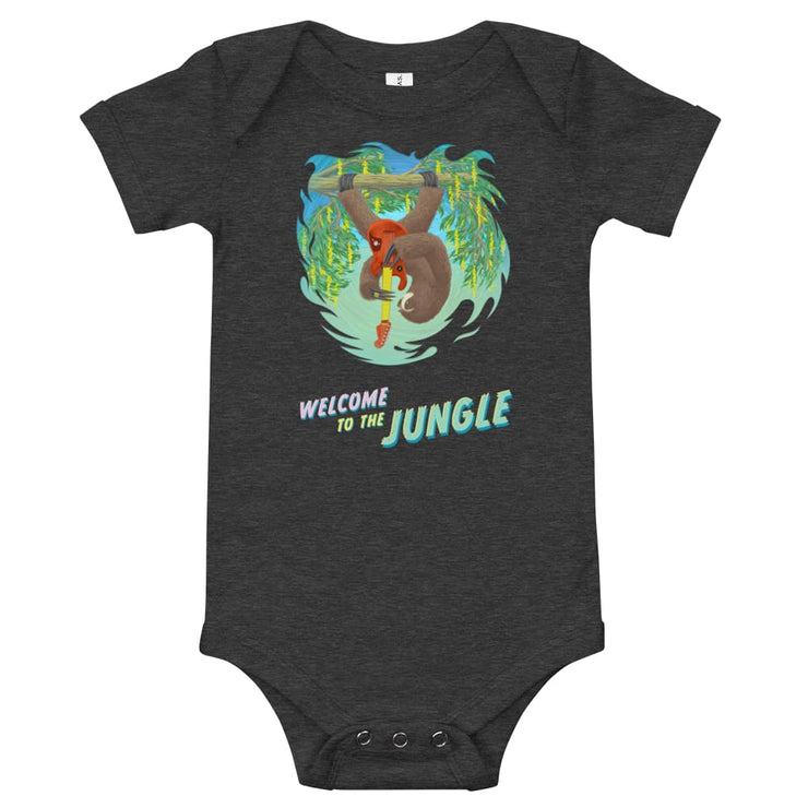 Baby One Piece - Welcome to the Jungle Dark Grey Heather / 3-6m