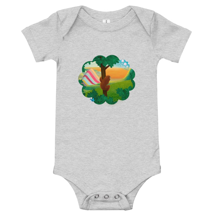 Baby One Piece - Window to the World Athletic Heather / 3-6m