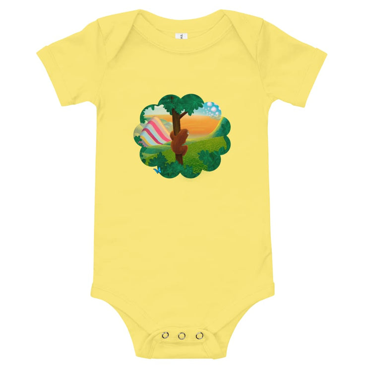 Baby One Piece - Window to the World Yellow / 3-6m