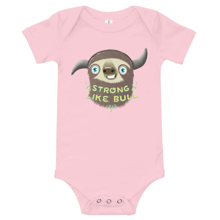 Baby Short Sleeve 100% Cotton One Piece - 6-24M - Strong like Bull Pink / 3-6m
