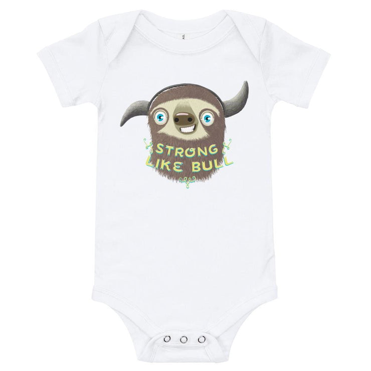 Baby Short Sleeve 100% Cotton One Piece - 6-24M - Strong like Bull White / 3-6m