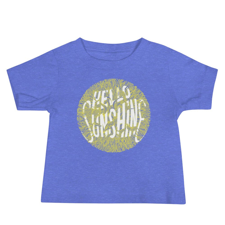 Baby Short Sleeve 100% Cotton T-shirt - 6-24M - Hello Sunshine Heather Columbia Blue / 6-12m