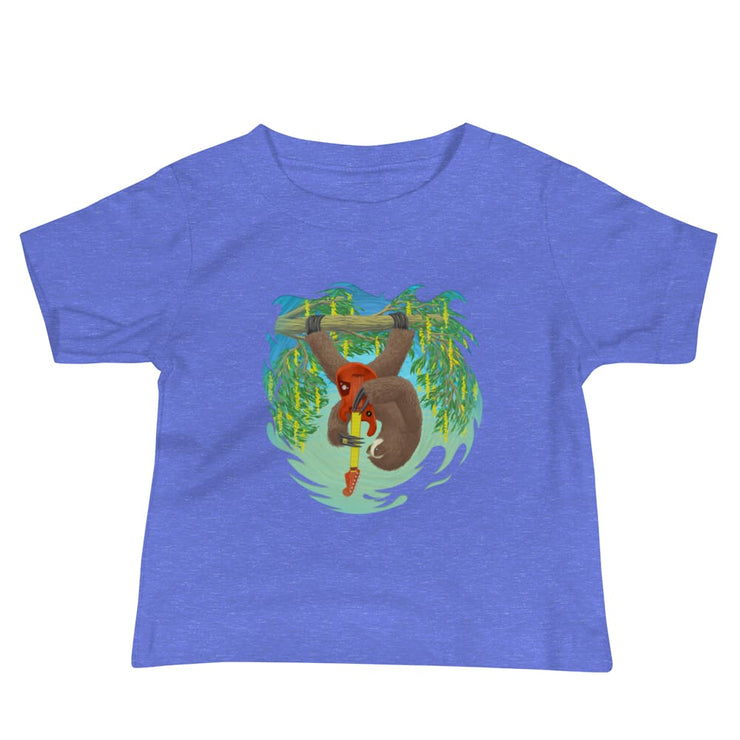 Baby Short Sleeve 100% Cotton T-shirt - 6-24M - Oskar Rocks Heather Columbia Blue / 6-12m
