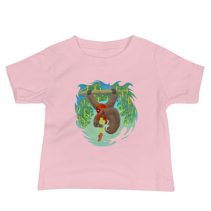 Baby Short Sleeve 100% Cotton T-shirt - 6-24M - Oskar Rocks Pink / 6-12m