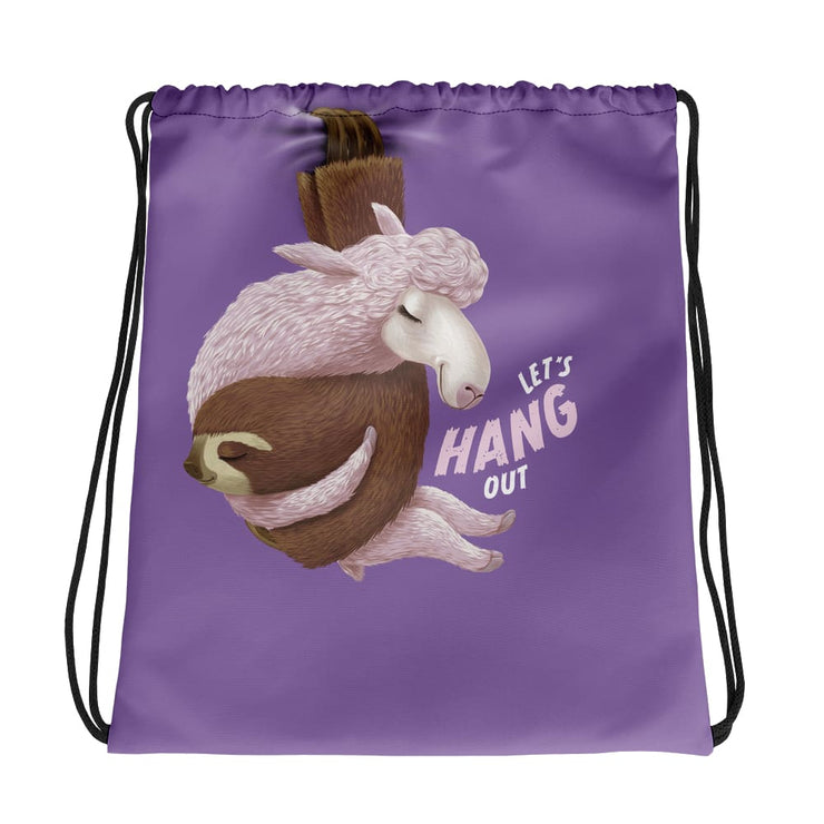 Drawstring bag - Lets Hang Out - Purple
