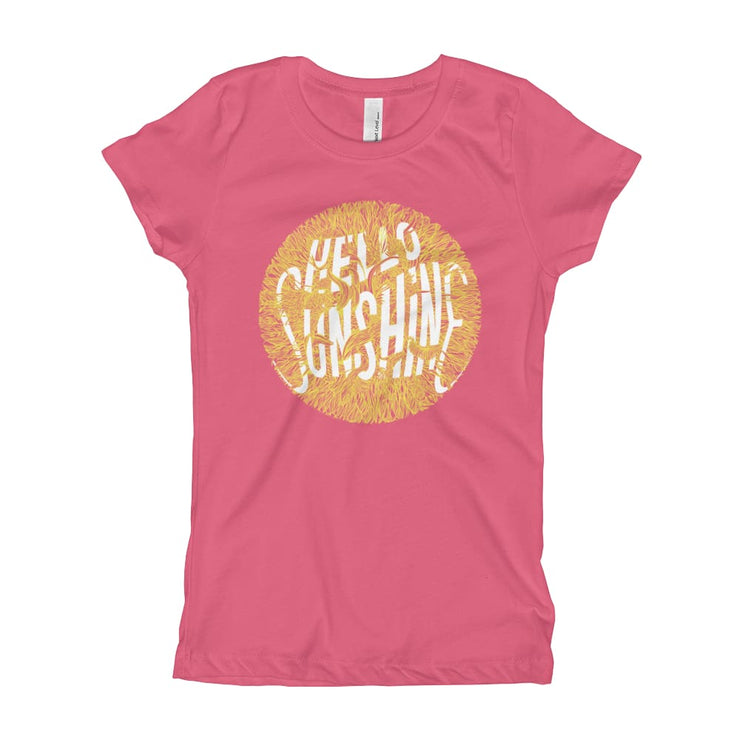 Girls Slim Fit T-Shirt - Ages 7-15 - Hello Sunshine Hot Pink / XS