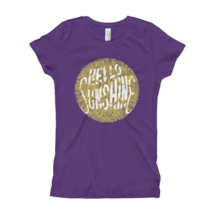 Girls Slim Fit T-Shirt - Ages 7-15 - Hello Sunshine Purple Rush / XS