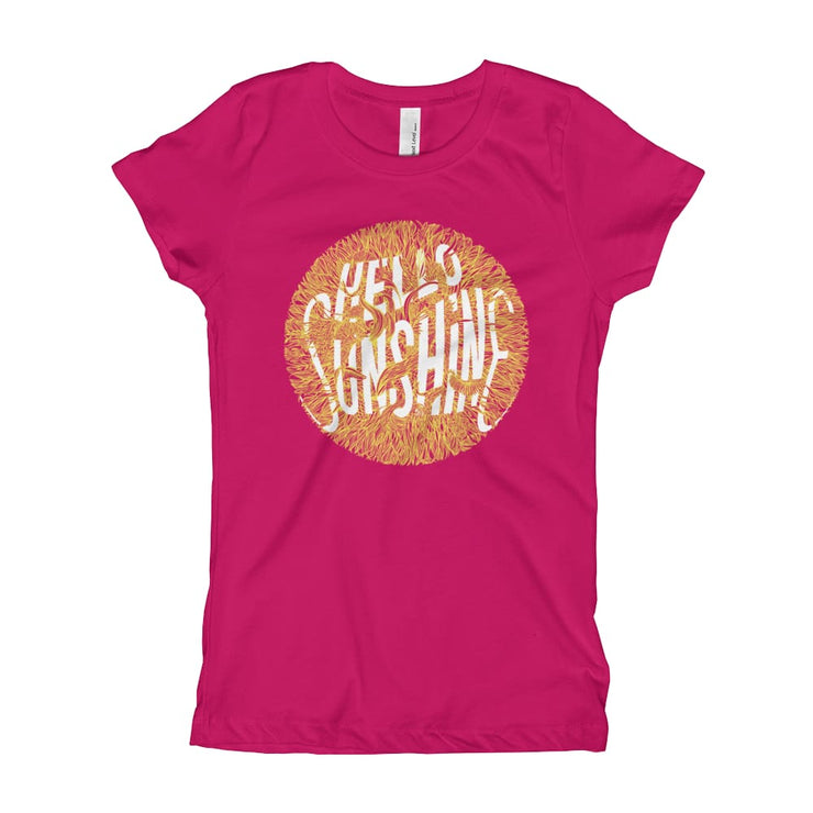 Girls Slim Fit T-Shirt - Ages 7-15 - Hello Sunshine Raspberry / XS