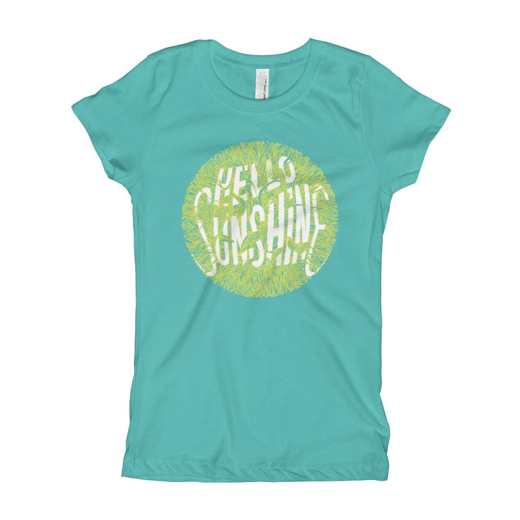 Girls Slim Fit T-Shirt - Ages 7-15 - Hello Sunshine Tahiti Blue / XS