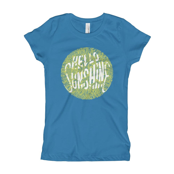 Girls Slim Fit T-Shirt - Ages 7-15 - Hello Sunshine Turquoise / XS