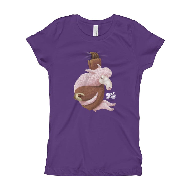 Girls Slim Fit T-Shirt - Ages 7-15 - Lets hang out Purple Rush / XS