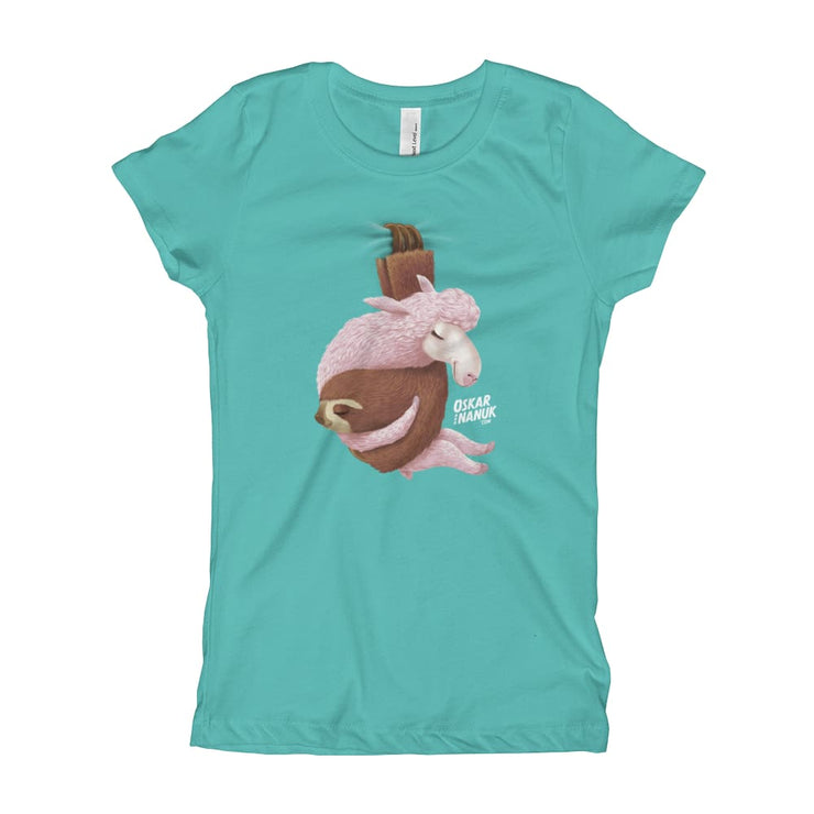 Girls Slim Fit T-Shirt - Ages 7-15 - Lets hang out Tahiti Blue / XS