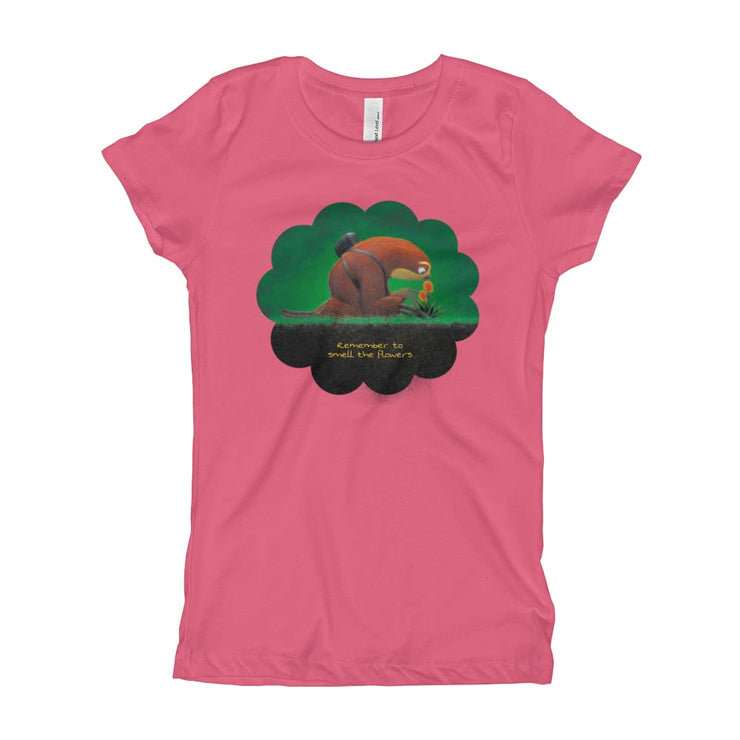 Girls Slim Fit T-Shirt - Ages 7-15 - Smell the flowers Hot Pink / XS