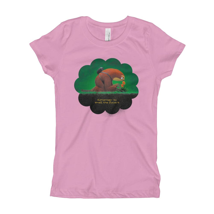 Girls Slim Fit T-Shirt - Ages 7-15 - Smell the flowers Lilac / XS