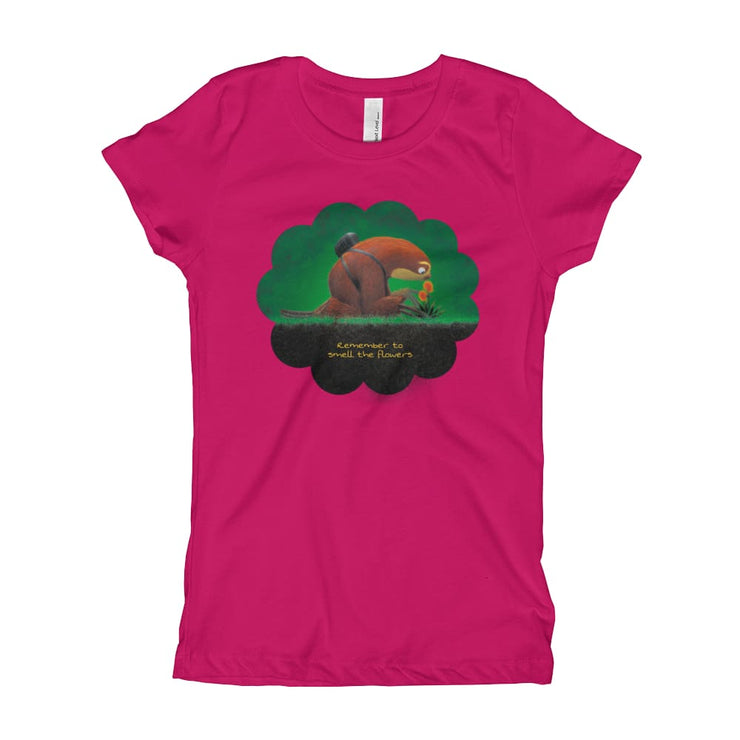 Girls Slim Fit T-Shirt - Ages 7-15 - Smell the flowers Raspberry / XS
