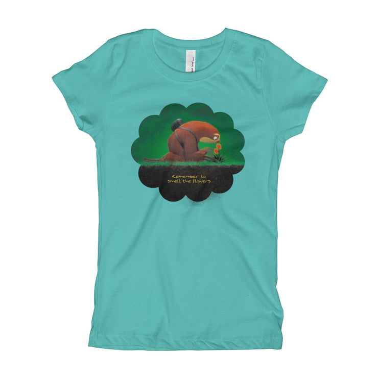 Girls Slim Fit T-Shirt - Ages 7-15 - Smell the flowers Tahiti Blue / XS